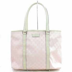 Auth Gucci Tote Bag Pink Canvas #1560G13
